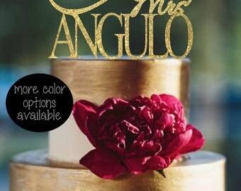 Mr and Mrs cake topper - Surname - Wedding cake topper - Wedding Decorations  - Personalized Wedding Cake Topper - gold wedding cake topper
