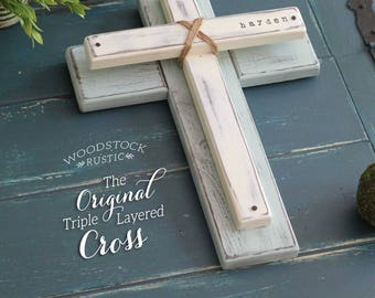 PERSONALIZED WOOD CROSS, Rustic Wood Cross, Rustic Cross Decor, Wooden Cross, Personalized Name Cross, 5th Anniversary, Fixer Upper Style