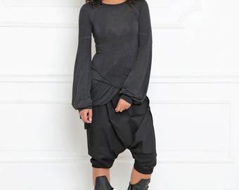 Women Tunic Top, Wrap Top, Gothic Clothing, Black Blouse, Plus Size Maxi Top, Asymmetric Blouse, Maxi Blouse, Loose Top, Extravagant, A-3001