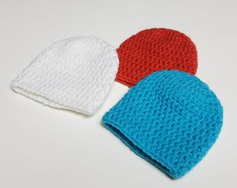Double crochet preemie beanie hat/solid color