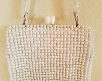Vintage Beaded Bag, Vintage White Beaded Bag, 1960s White Beaded Bag, Vintage Handbags, Summer Handbag, White Handbag, 1960s White Handbag
