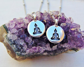 Buddha necklace, Small Buddha charm necklace, Silver buddha, Buddha jewelry, Yoga necklace, Buddhist necklace, Buddha charm, Charm necklace