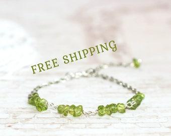 Genuine peridot jewelry for women / Green chain bracelet for girls / Peridot bracelet / Green bracelet