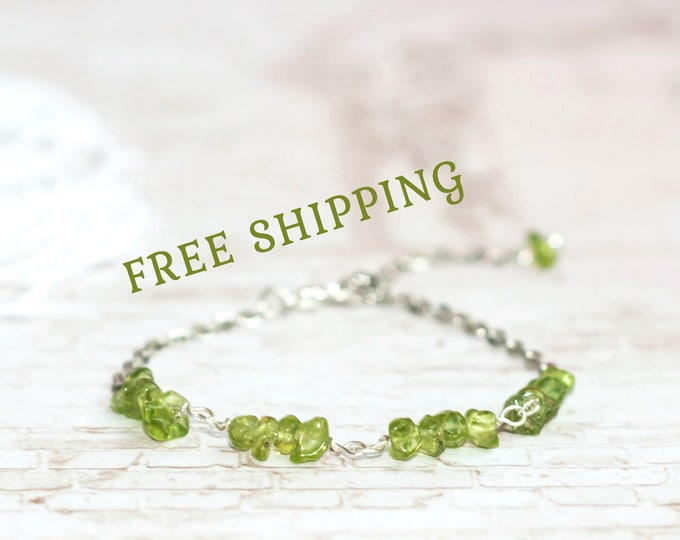 Genuine peridot jewelry for women / Green chain bracelet for girls / Peridot bracelet / Green bracelet
