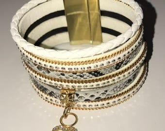 Studded Black, White and Gold Cuff Bracelet with Dangling Heart