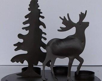 Reindeer Tealight Votive Candle holder & Christmas tree brown metal