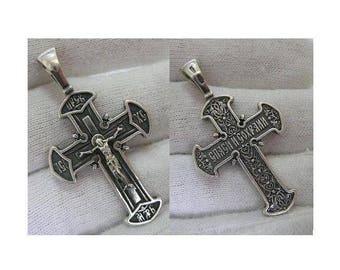 SOLID 925 Sterling Silver CROSS Pendant Jesus Crucifix Darkened Oxidized Russian Inscription Спаси и сохрани Christian Church Jewelry