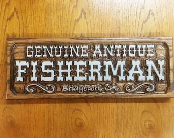 Genuine Antique Fisherman - Carved in Poplar or Oak
