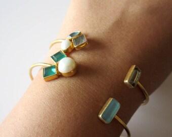 SET OF 2 Gemstone Bracelets - Gift for her -  Everyday Wear Bracelet from Enhara - Stackable Labradorite, Green Onyx Gemstone Bracelet
