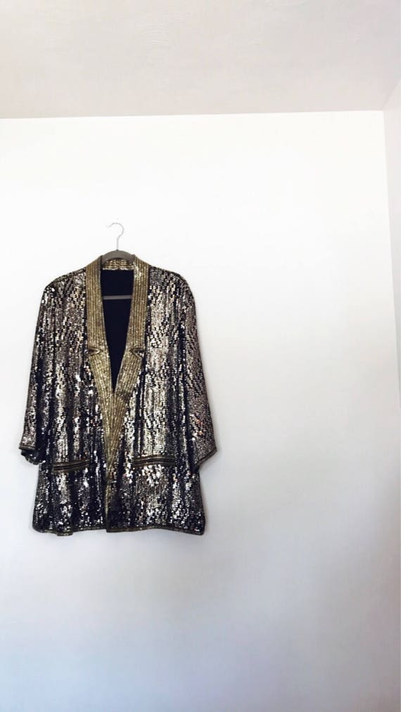 80s Discoteque Smoking Jacket             Full Beads & Sequins