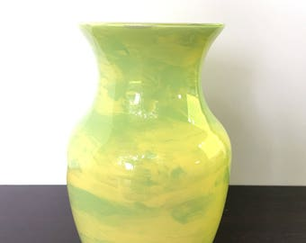 Green Vase // Hand Painted Glass // Green Yellow and Grey Decorative Vase