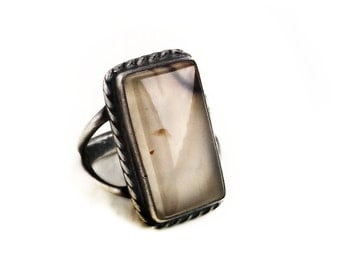 Vintage Sterling Silver Moss Agate Retro Ring ~ Size 6 Agate Jewelry