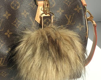 Louis Vuitton Bag Charm Pom Pom made with Authentic Upcycled Louis Vuitton Canvas, Faux Fur