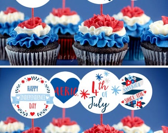 """DIY PRINTABLE 4th of July Cupcake Toppers 