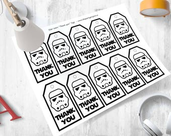 DIY PRINTABLE Star Wars Thank you tags | Stormtrooper goody bag tags | giveaway labels | Star Wars birthday party or Baby shower favor tags!