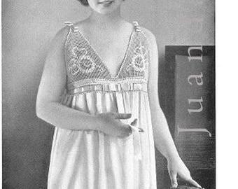 Antique crochet patterns PDF 1920s nightgowns, filet crochet edgings, lingerie pattern, flapper, slipovers, slippers, collar