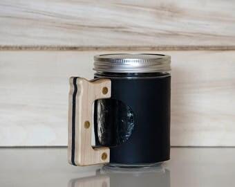 Black Mason Jar Mug with Maple Handle