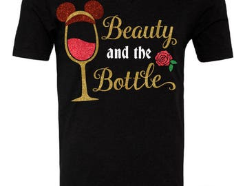 Beauty And The Bottle - Beauty and the Beast Inspired Drinking Glitter Shirt - Epcot Food And Wine Festival