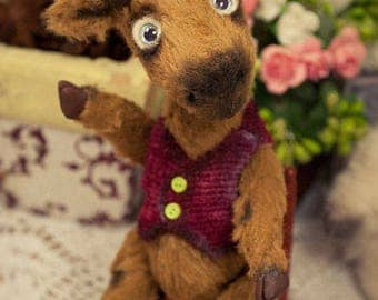 Artist teddy moose, 6in, brown mini moose, ooak moose, artist moose, viscose, Maria Trotsenko