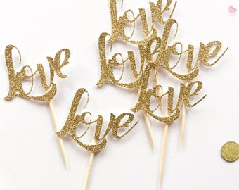 6 Love Glitter Hen, Bridal Shower, Birthday, Engagement, Valentines party Cup Cake Topper