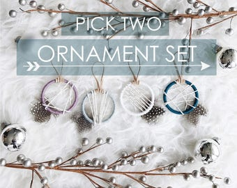 Gift Ideas for Girlfriend, Christmas Gifts for Dreamers, Boho Winter Ornament, Stocking Stuffer Idea, Mini Dreamcatcher, Holiday Party Gift