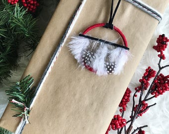 Christmas Presents for Girlfriend, Unusual Christmas Ornaments, Red Holiday Decoration, Boho Feather Ornament, Hippie Christmas Gifts