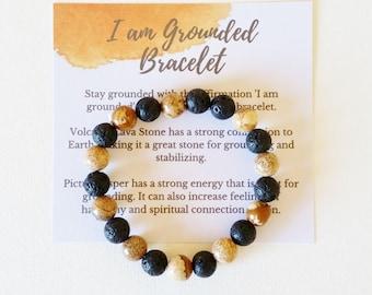 I am Grounded Bracelet with volcanic lava stone and picture jasper - grounding jewellery, spiritual jewellery, crystal bracelet, gemstones