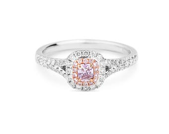 Pink Diamond Ring, Pink Diamond Engagement Ring, Unique Diamond Ring, Anniversary Present, Gold Ring, Cushion Diamond Ring, one of a kind