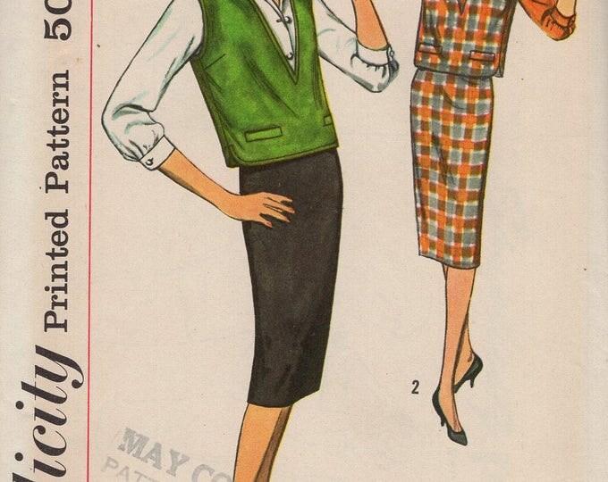 FREE US SHIP Original Uncut Sewing Pattern Vintage Retro 1950s 50s Simplicity 2734 Blouse Skirt Jerkin Vest Size 12, 18 Bust 32 38