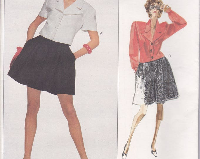 Free Us Ship Sewing Pattern Vogue 2088  Vintage Retro 1980s 80s Designer Karl Lagerfield  Top Jacket Shorts Couture Size 10 Bust 32.5 Uncut