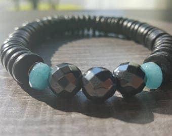 Men bracelet, coconut, hematite and aquamarine.