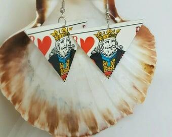 King of hearts card earrings