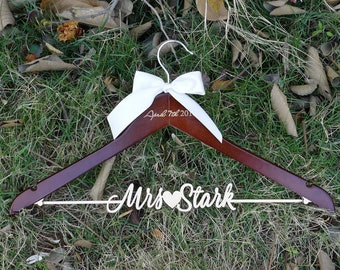 Bridal Shower Gift, Personalized Wedding Hanger with Date Engraved on Top, Custom Made Hanger, Natural Wood Name Bridal Hanger VTP0015