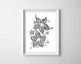Arabic Calligraphy Print - Khalil Gibran Poetry - Black and White - Arabic Calligraphy Flower - Poetry on Friendship - Arabic Poetry