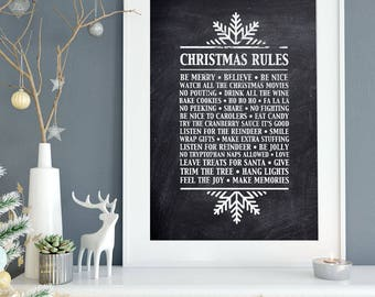 Christmas Printable, Christmas Rules, Christmas Rules Printable, Holiday Printable, Scandi Christmas Decor, Black White Christmas Decor