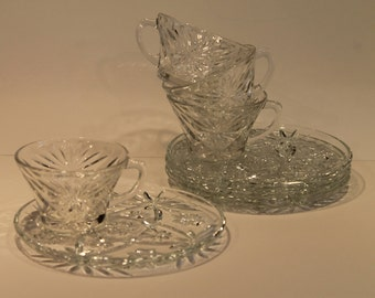Early American Prescut - Anchor Hocking EAPC - Mini Snack Set of 4  - Plate and Cup Set - Rare and Hard to Find Set - Star of David Pattern