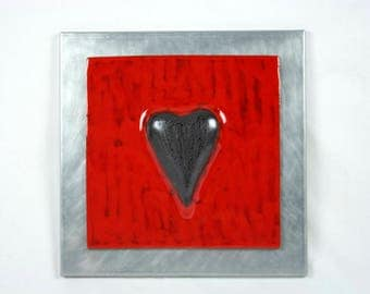 Ceramic panel red heart