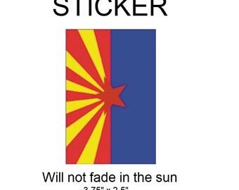 "Arizona Flag Vinyl Sticker - Will not fade in the sun, 3.75""x 2.5"""