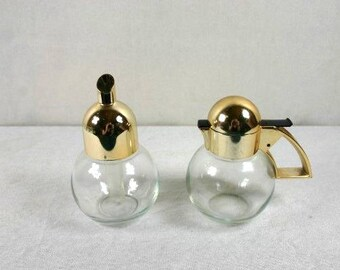 Sugar Dispenser And Creamer STOHA Germany Vintage Sugar Bowl Vintage Glass Sugar Dispenser Gold And Clear Glass
