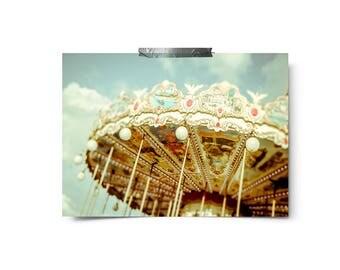 Merry go round, carnival Photography, Paris Print, Paris Carousel Photography Print, Parisian Life, Nursery Decor