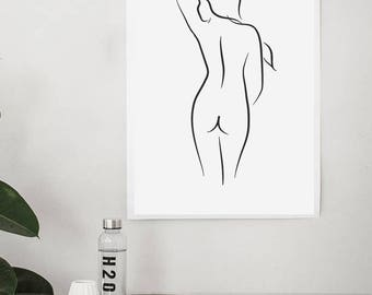 Get Naked, Get Naked Sign, Get Naked Print, Bathroom Wall Art, Bathroom Sign, Naked Woman, Modern art, Black and White print, Prints, Decor