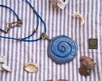 Unique Purple Gold Polymer Clay Pendant Boho Pendant With Spiral Unique Design Gift for her Luxury Gift Boho Jewelry