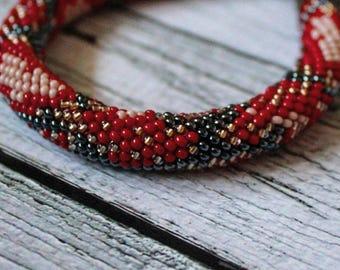 Red black seed bead bracelet crochet rope red python snake bracelet reptile skin pattern bead jewelry beaded bracelet beadweaving bead rope