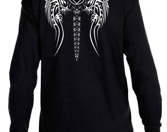 NA - TRIBAL PATCH Wings- Long Sleeve T-Shirt - S-3X -Black  - 100% cotton.  Narcotics Anonymous