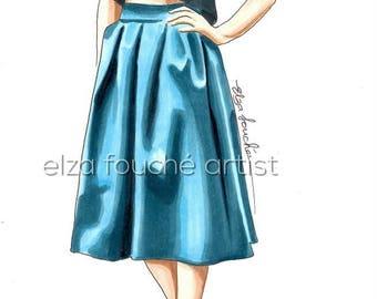 Skirt illustration fashion art print and original