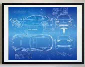 Tesla Model 3 (2018) Da Vinci Sketch, Tesla Artwork, Blueprint Specs, Blueprint Patent Prints Posters, Tesla Art, Car Art, Cars (#260)
