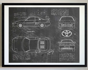 Toyota MR2 (1991) Da Vinci Sketch, MR2 Art, Blueprint Patent Prints Posters, Toyota Decor, Art, Car Art, Cars (#272)