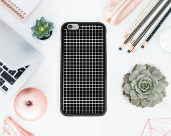 Iphone 7 graph paper phone case grid iphone 7 plus case hipster phone case black & white grid iphone 6 case minimalistic Valentines day OT57