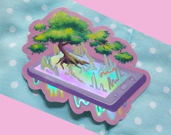 Holographic Phone Sticker, Vaporwave Aethetic Cute Vinyl Sticker
