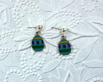 Blue and Green Child's Easter Egg Post Earrings